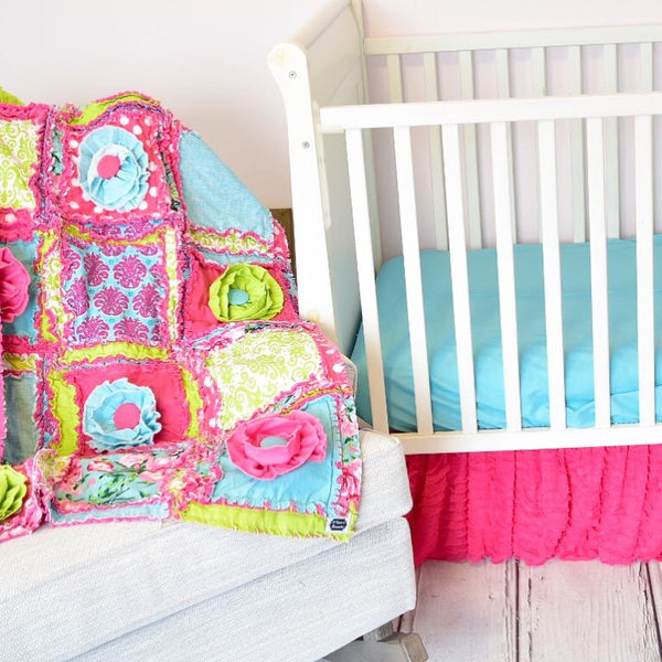 Bright & Cheery Floral Baby Girl Nursery Crib Bedding - Hot Pink / Green / Turquoise - A Vision to Remember