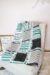 Geometric Geeky Nerd Baby Rag Quilt - Mint / Black - Crib Bedding - A Vision to Remember
