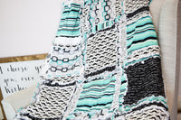 Geometric Geeky Nerd Baby Rag Quilt - Mint / Black - A Vision to Remember