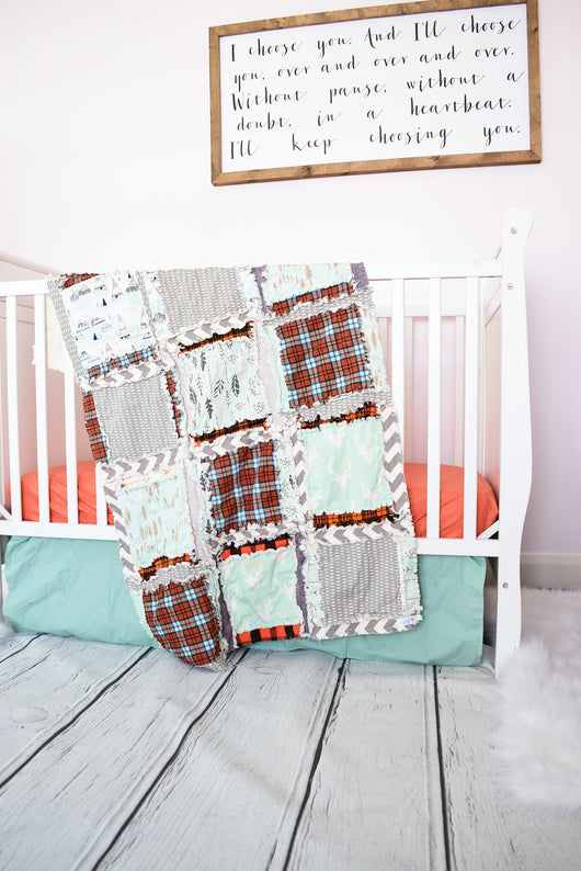 Adventure Woodland Baby Boy Rag Quilt Crib Bedding - Greige, Orange, Mint