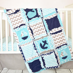 Nautical Crib Bedding with Boats, Whales & Anchors in Aqua Blue, Navy, and Gray - Crib Bedding - A Vision to Remember