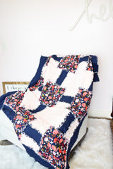 Oversize Floral Throw Quilt for Home Decoration - Navy / Baby Pink