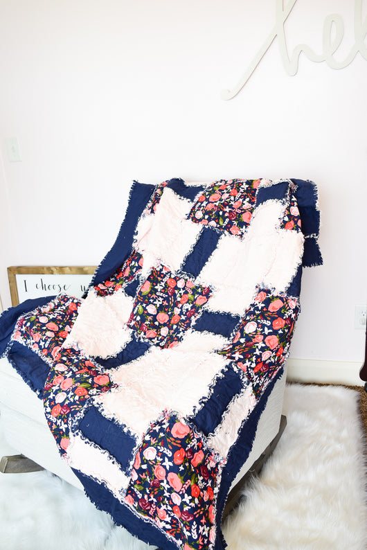 Oversize Floral Throw Quilt for Home Decoration - Navy / Baby Pink - Quilt - A Vision to Remember