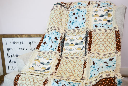 Stars and Mountains Baby Boy Rag Quilt - Blue / Brown - Crib Bedding - A Vision to Remember