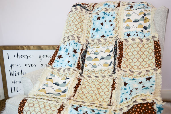 Stars and Mountains Baby Boy Rag Quilt - Blue / Brown - A Vision to Remember