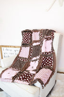 Tractor Baby Girl Rag Quilt Crib Bedding - Brown / Baby Pink - A Vision to Remember