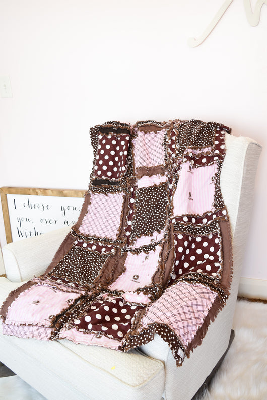 Tractor Baby Girl Rag Quilt Crib Bedding - Brown / Baby Pink