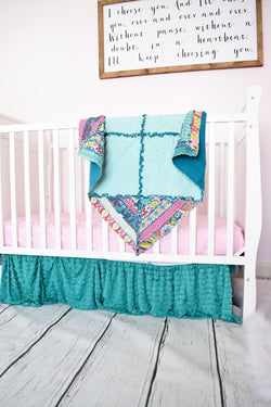 Floral Bohemian Baby Quilt - On Pointe - Aqua / Pink