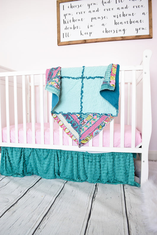 Floral Bohemian Baby Quilt - On Pointe - Aqua / Pink - Crib Bedding - A Vision to Remember