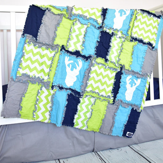Woodland Baby Boy Crib Bedding - Lime / Navy / Turquoise / Gray - Crib Bedding - A Vision to Remember