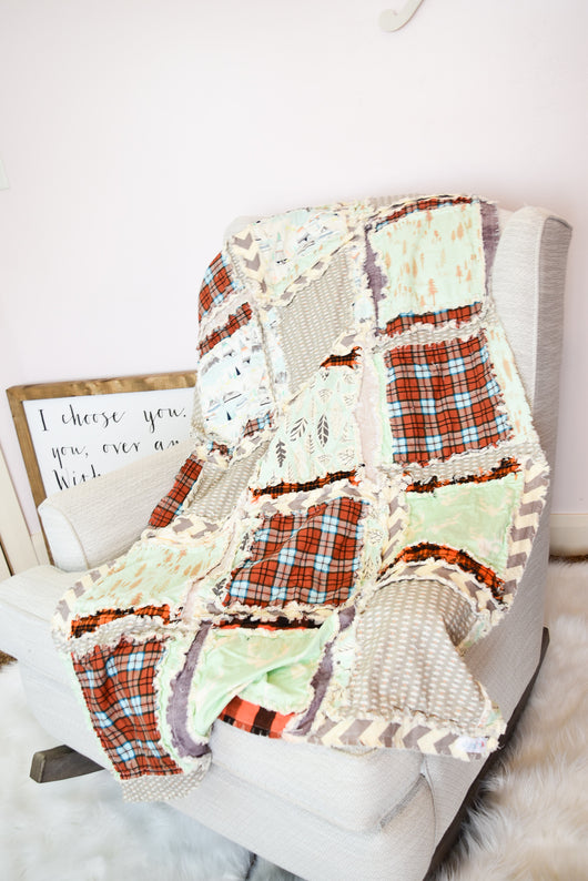 Adventure Woodland Baby Boy Rag Quilt Crib Bedding - Greige / Orange / Mint