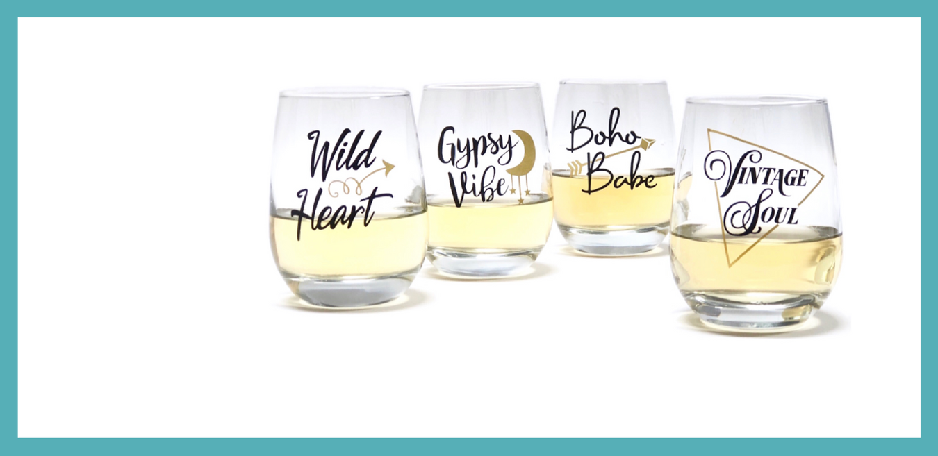 vintage soul glass, wild heart glass, gypsy vibe glass, boho babe glass, scissormill.com, fun gifts for women, drinking set, stemless wine glasses, best birthday gifts for her, bridesmaid gifts, bachelorette wine glasses