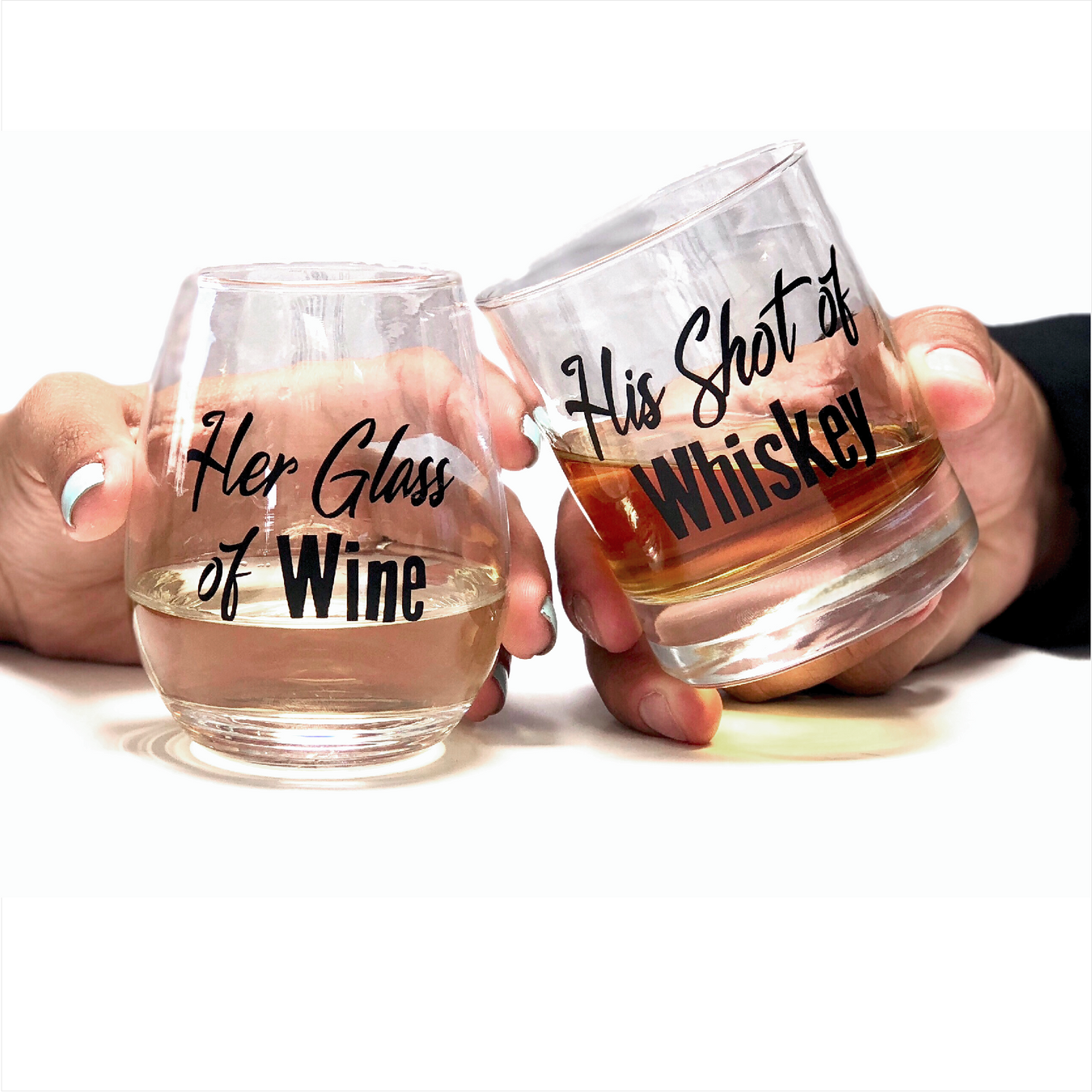 Her glass of wine, his shot of whiskey, his and her glasses, couples glasses, whiskey and wine glasses, couples gift sets, wedding gift, whiskey gift, stemless wine glass, ScissorMill.com
