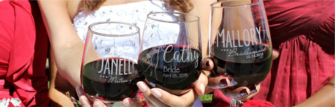 engraved wine glasses for bride and bridesmaid by scissormill #scissormill