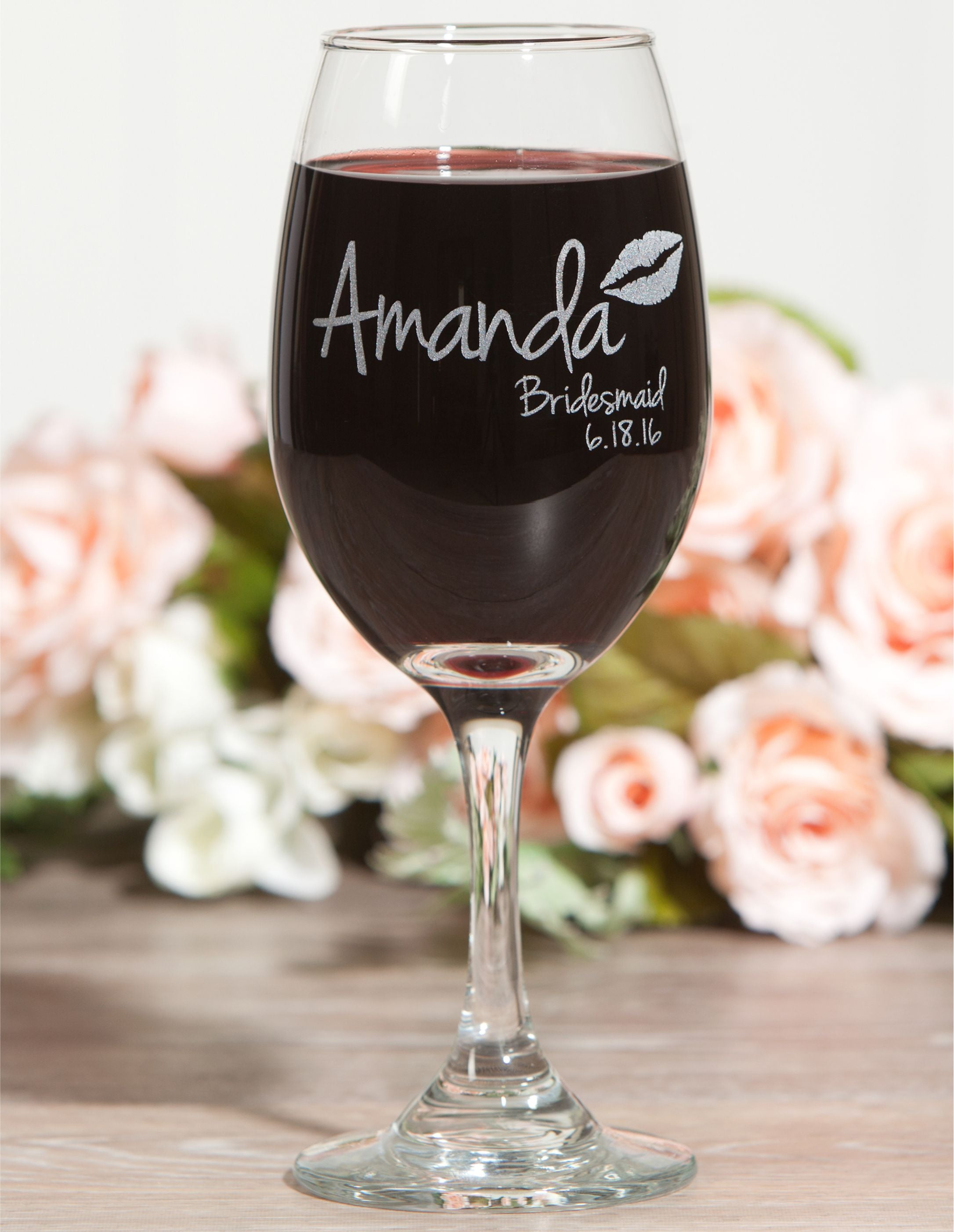 Bridesmaid Gift, Wine Glass, ScissorMill, Lips Glass, Kiss Glass, Maid of honor glass
