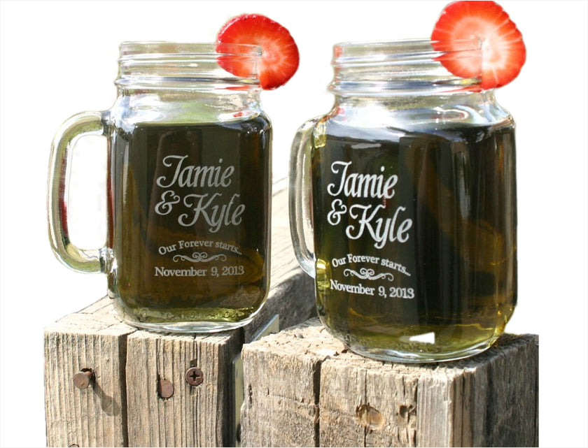 Engagement gifts, Custom mason Jars, Couple gifts, our forever starts, ScissorMill, Wedding announcement