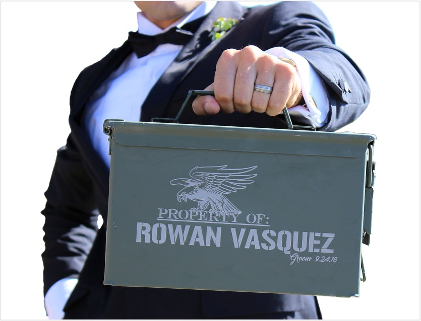 Groomsmen ammo cans engraved by ScissorMill Scissor Mill