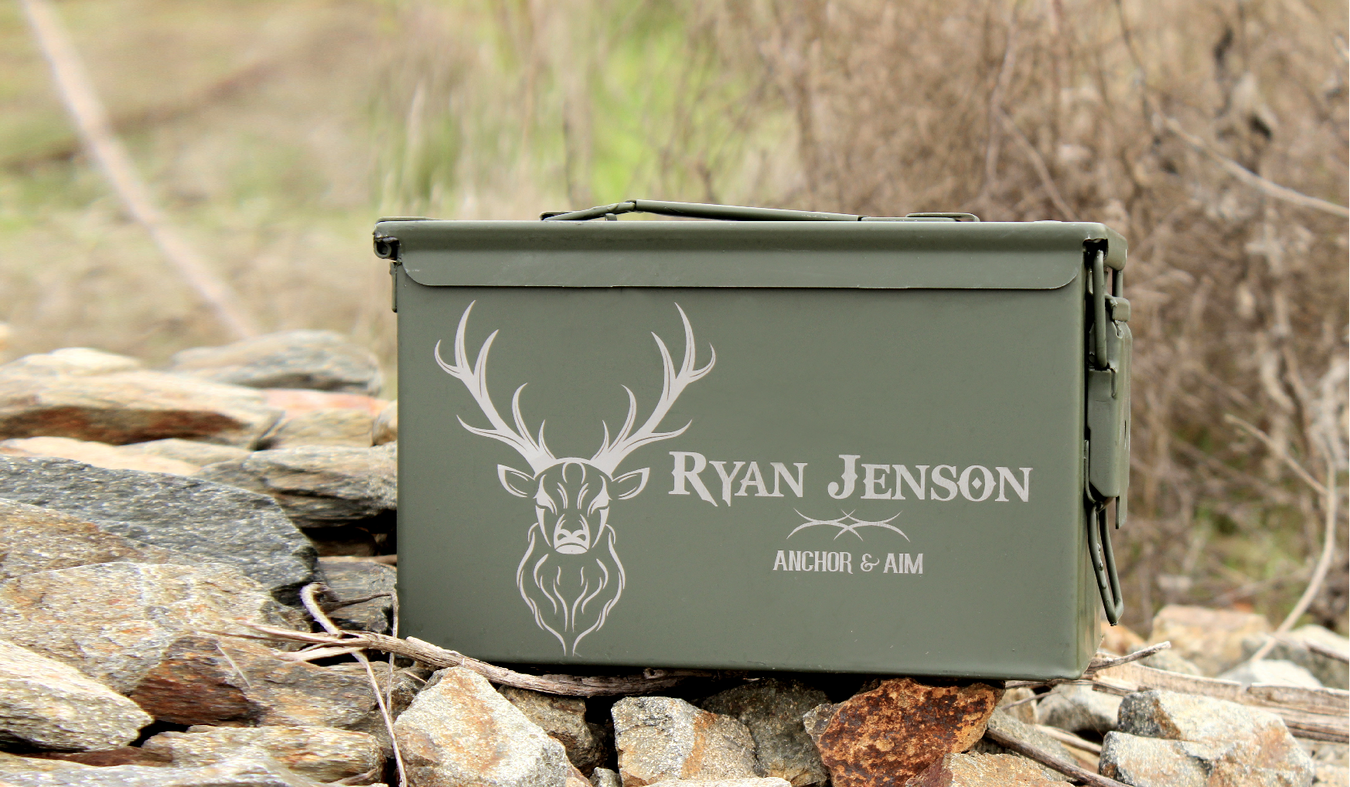 Gifts for men, hunting gifts, camping gifts, deer antlers, buck antlers, anchor and aim, shooting supplies, ammo can, ammo box, engraved gifts for men, mens gifts for christmas, cool gifts for men, ScissorMill.com, army green, military box, custom box