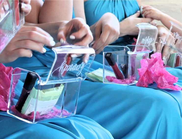 bridesmaid boxes for makeup engraved by ScissorMill
