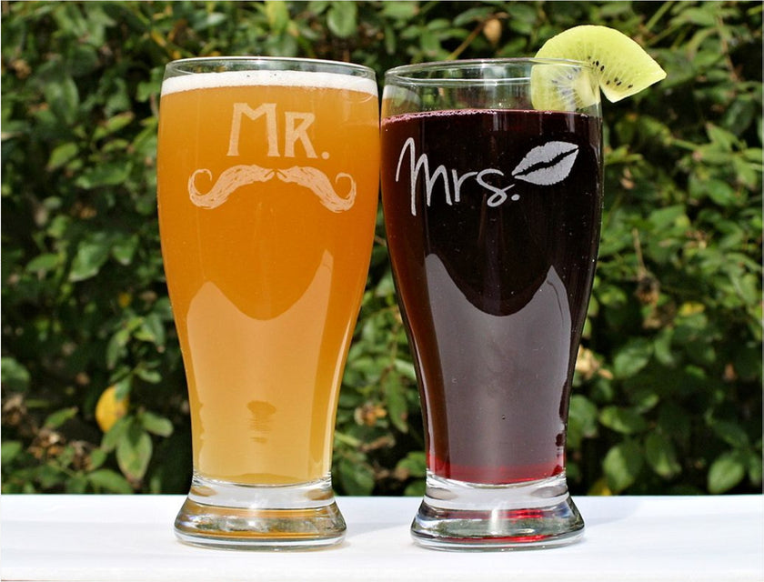 Mr and Mrs Beer Glasses, Mr and Mrs Glasses, ScissorMill, Mustache beer glass, Mrs glass, Pilsner beer glass, couples beer glasses, newlywed gifts