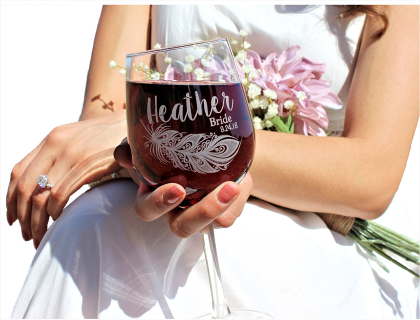 custom wine glass, scissormill, temecula, personalized wine glasses, bridesmaid gift ideas, engraved wine glasses, boho wine glass, boho feather, feather wine glass
