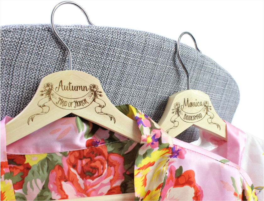Wedding dress hangers, Bridesmaid hangers, Bridesmaid dress hangers, Wedding hangers, engraved hangers, Bridesmaid hangers, ScissorMill