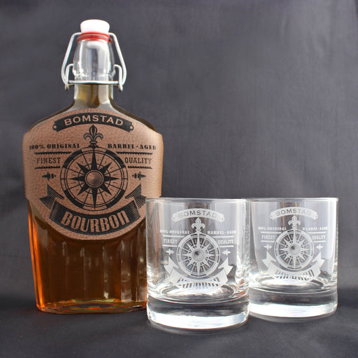 Whiskey Set - Compass Design - ScissorMill