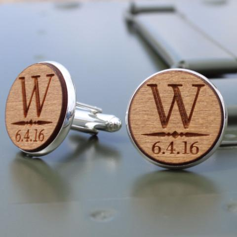 Personalized Cufflinks for Groomsmen - Wooden - Groom Cufflinks - ScissorMill