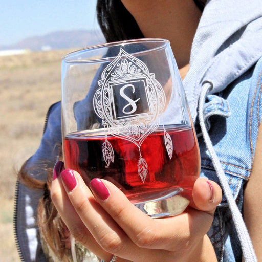 Dream Catcher - Stemless Wine Glass - ScissorMill
