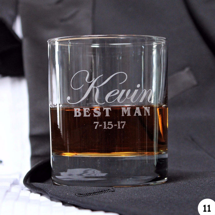 Engraved Whiskey Glasses for Groomsmen - Unique Whiskey Glasses - ScissorMill