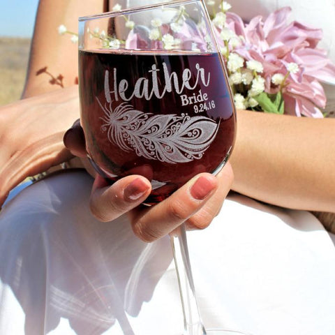 Practical Bridesmaid Gift Ideas under $20 Engraved Wine glasses from ScisorMill & Practical Bridesmaid Gift Ideas Under $20 | ScissorMill