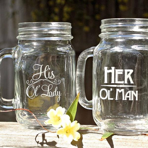 His and Her Mason Jar Mugs - Old Man Old Lady - ScissorMill