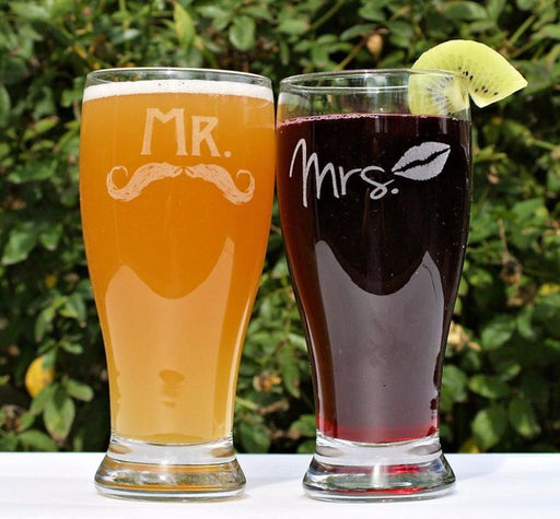 Mr & Mrs Pilsner Beer Glasses - ScissorMill