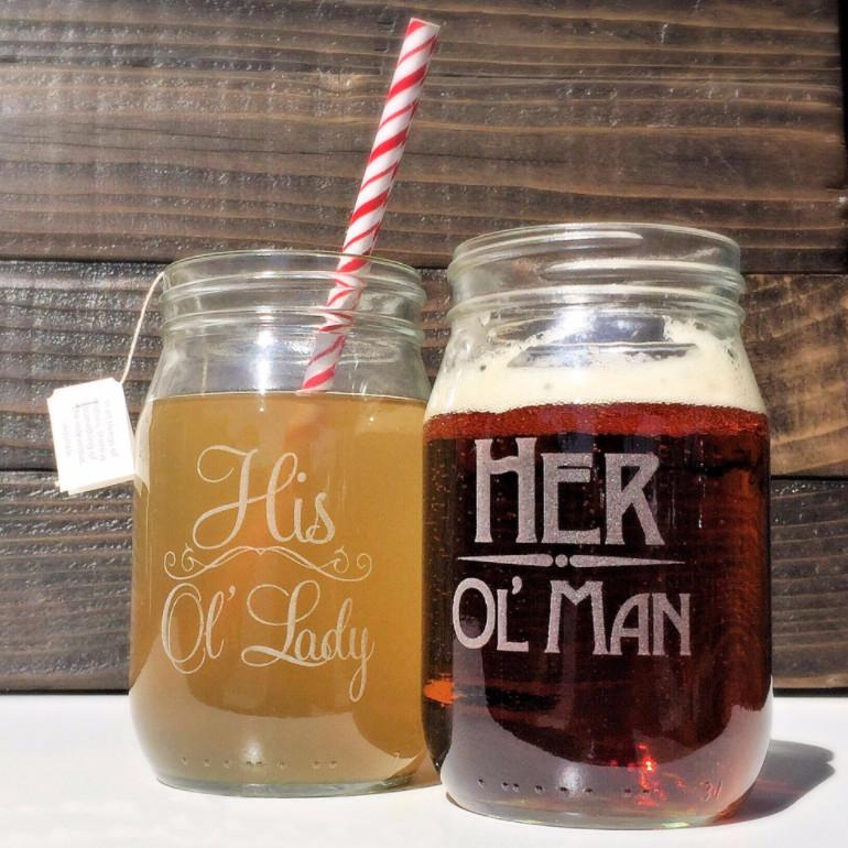 Old Man Old Lady Mason Jar Set - Couples Gift - ScissorMill