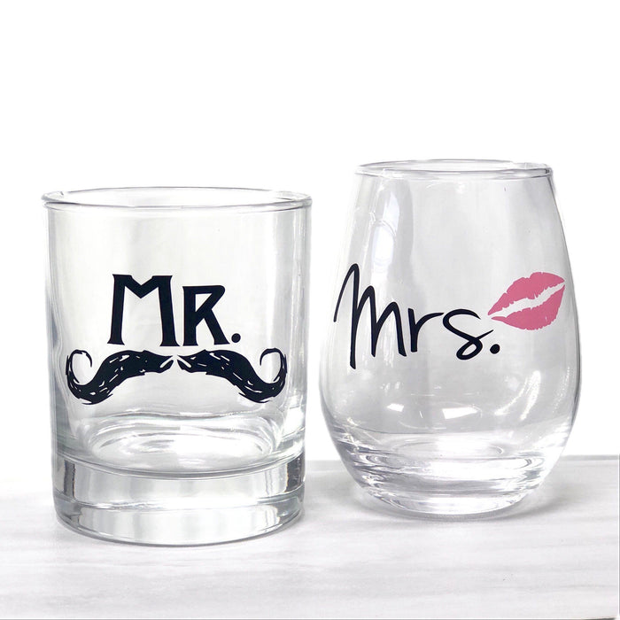 Mr and Mrs Rocks and Stemless Set - ScissorMill