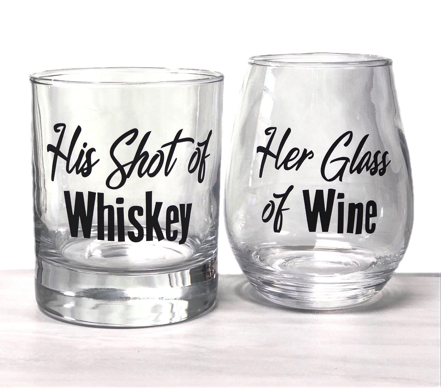 His and Her Glasses - His Shot Glass Her Stemless Glass - ScissorMill