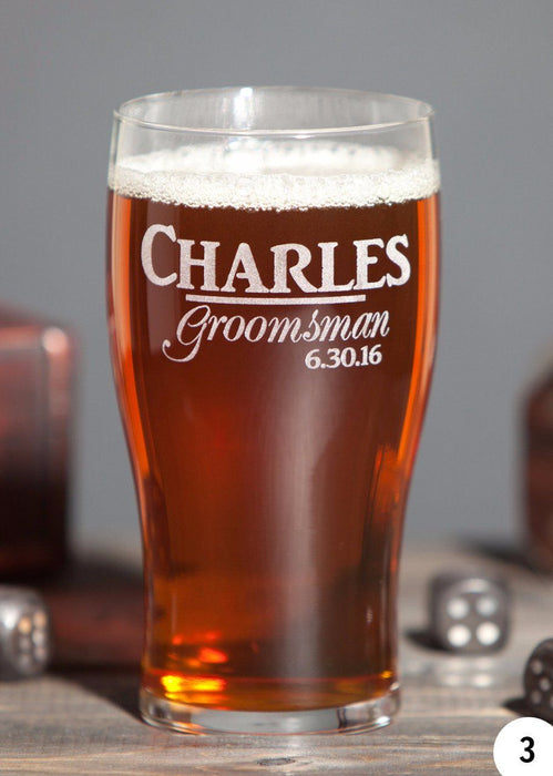 Groomsmen Beer Mugs - 20 oz Pub Glass - Groomsmen Glasses - ScissorMill