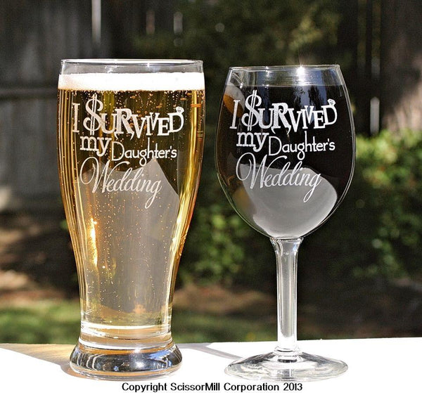 Online Gifts For Wedding: I Survived My Daughter's Wedding Glasses