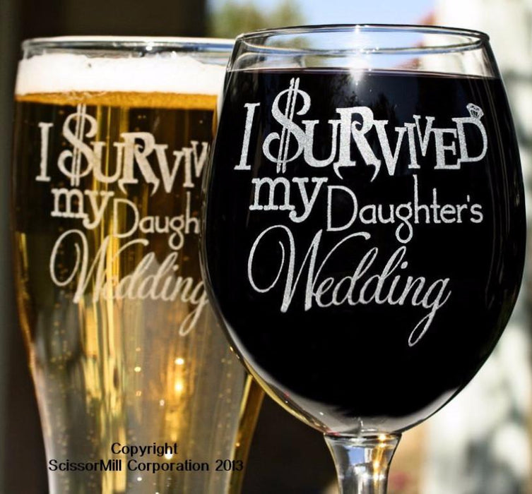 I Survived My Daughter's Wedding Glasses - ScissorMill