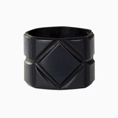 Leather bangle in dark blue