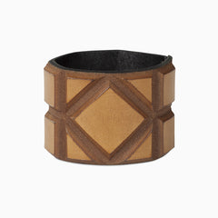 Leather bangle in cognac