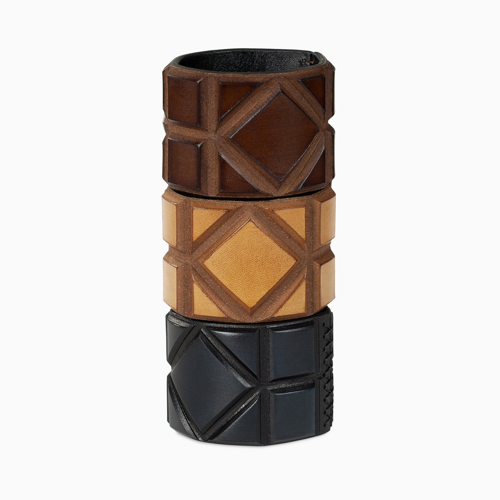 leather bracelets in brown, dark blue and cognac