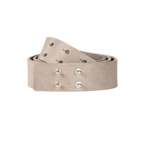 leather studded light grey belt