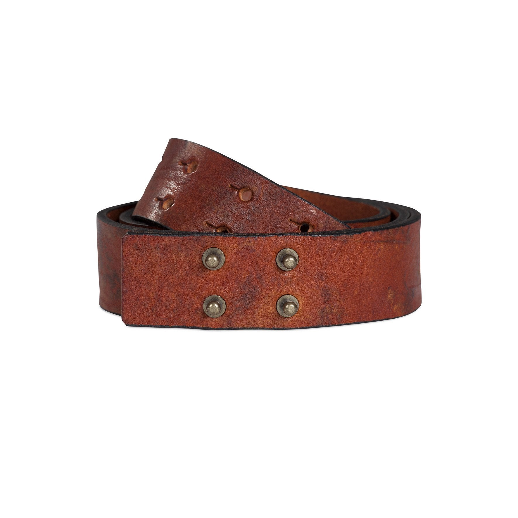 leather studded marbled brown belt