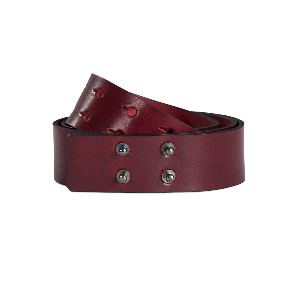 leather studded burgundy red belt