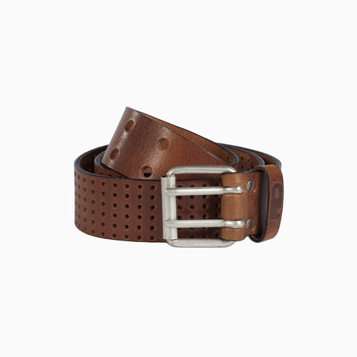 cognac brown leather belt with double silver spike buckle and hole design