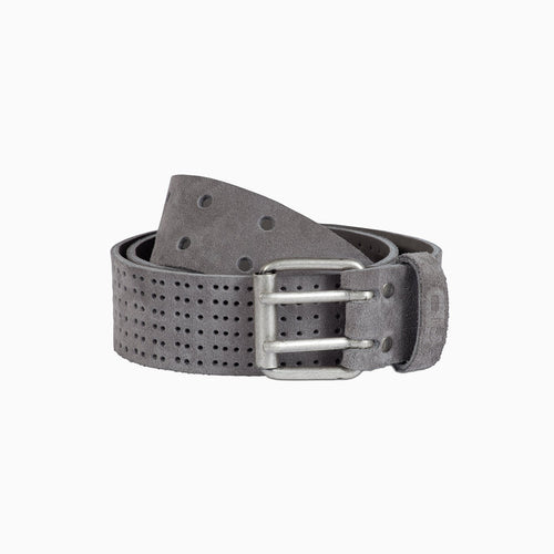 grey suede belt with double silver spike buckle and hole design