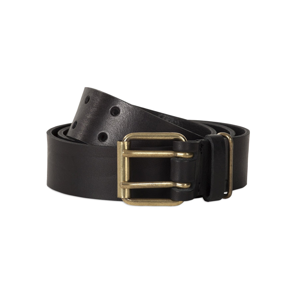 leather brown belt with brass buckle