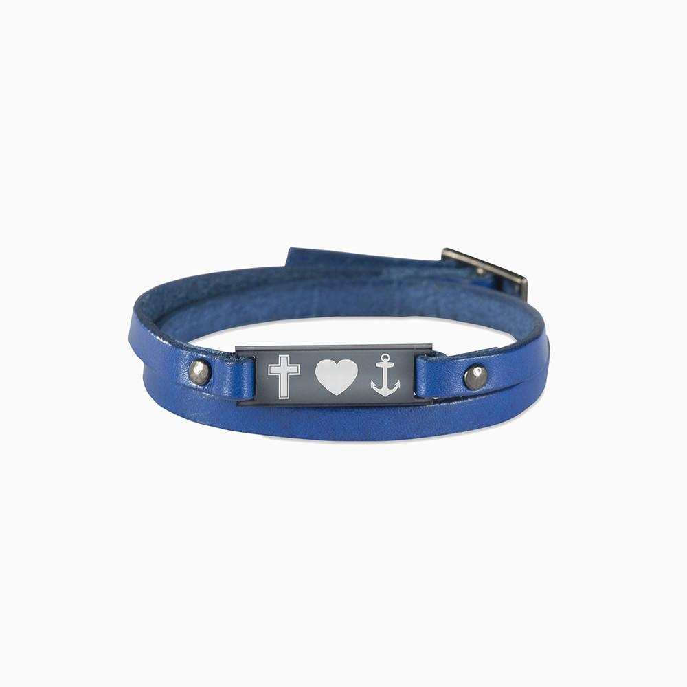 Mika leather bracelet with icon graphic