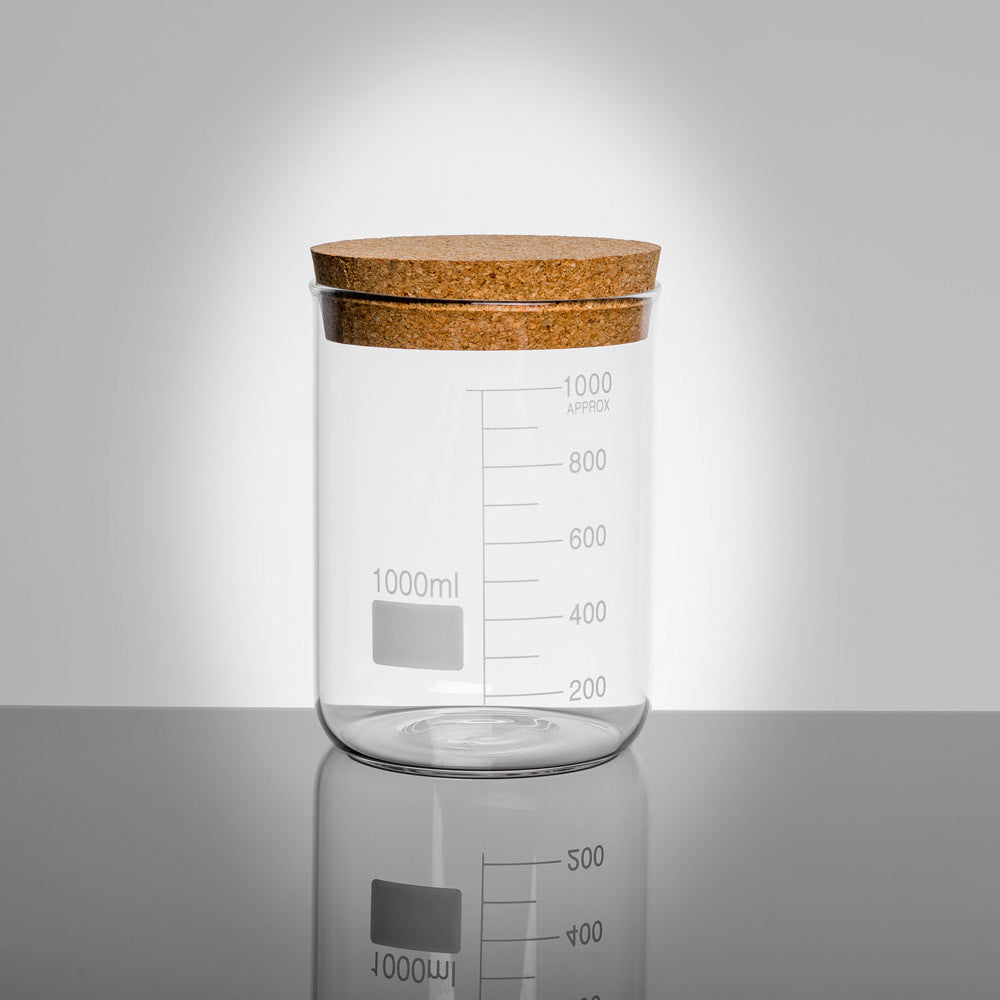 LAB Glass Beaker 1000ml Storage Jar with Cork Lid | Quirky Glass Storage Jars | Collett and Holder Gifted Living